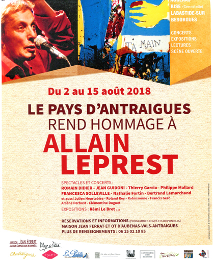 Affiche hommage Allain Pays d'Antraigues